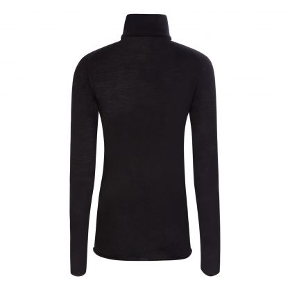 Black Merino Wool Roll Neck Jumper