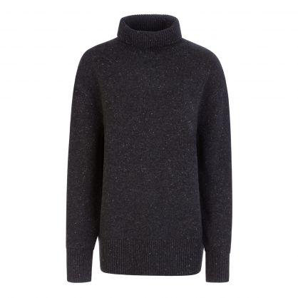 Black Tweed Knit High Neck Jumper