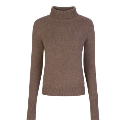 Taupe Pure Cashmere High Neck Jumper