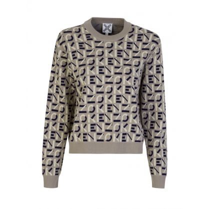 Grey Sport Monogram Jacquard Jumper