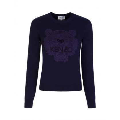 Navy Wool-Blend Tiger Head Jumper