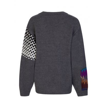 Grey V Neck Zig Zag Jumper