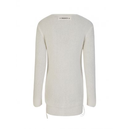 Ivory Knitted V-Neck Jumper