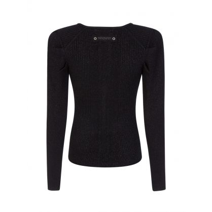 Black Lurex V-Neck Knit Jumper