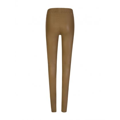 Brown Leather Stretch Leggings