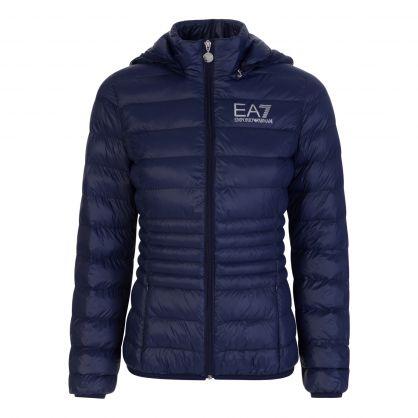 Navy Blue Hooded Bomber Jacket