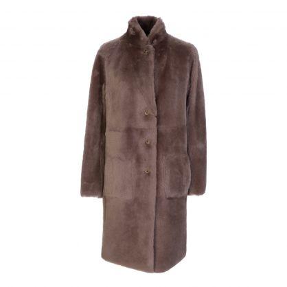Taupe Reversible Sheepskin Brittany Coat