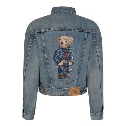 Blue Denim Bear Trucker Jacket