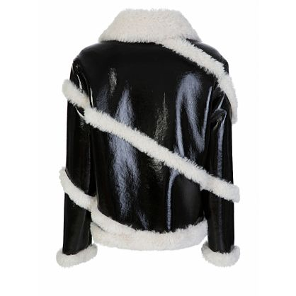 Black Faux Shearling Shiny Melendy Jacket