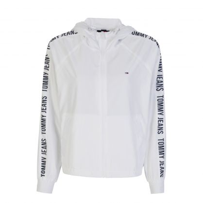 White Repeat Logo Tape Windbreaker Jacket