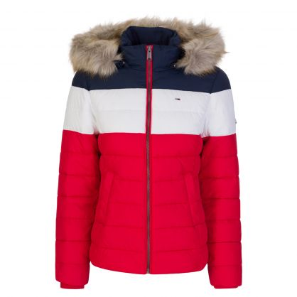Red/White/Navy Colourblock Jacket
