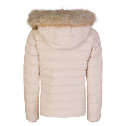 Beige Hooded Down Jacket