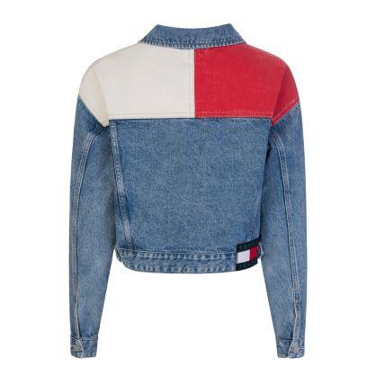 Blue Cropped Denim Tommy Badge Trucker Jacket