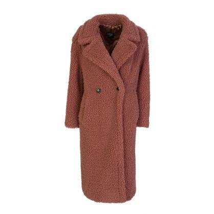 Pink Gertrude Long Teddy Coat
