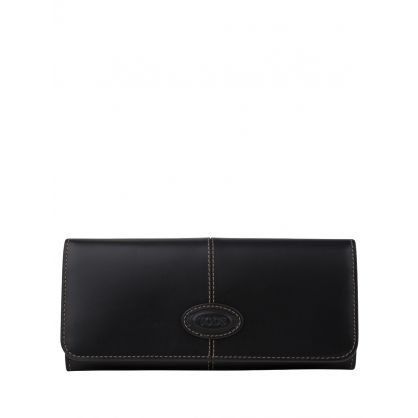 Black Leather Logo Purse