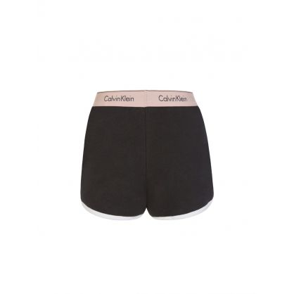 Black Modern Cotton Sleep Shorts