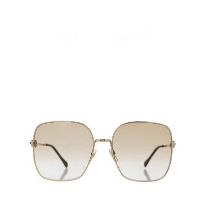 Gold Metal Square-Frame Sunglasses