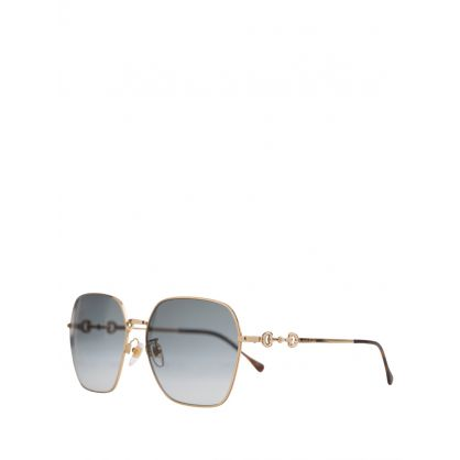 Gold/Grey Metal Sunglasses