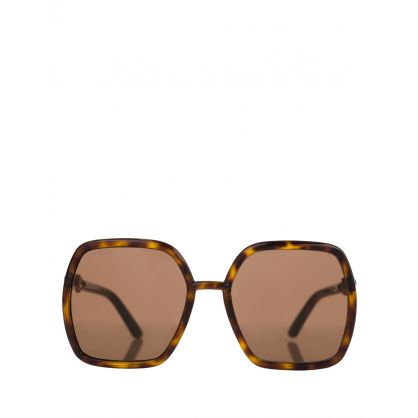 Brown Tortoiseshell Square-Frame Sunglasses