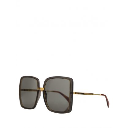 Grey Square-Frame Sunglasses