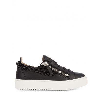 Black Embroidered Crystals Gail Trainers