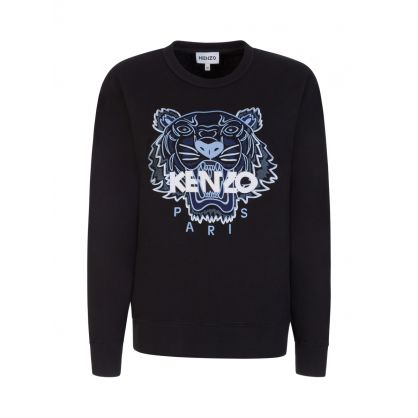 Black Embroidered Tiger Logo Sweatshirt