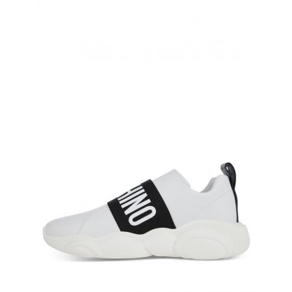 White Leather Strap Logo Trainers