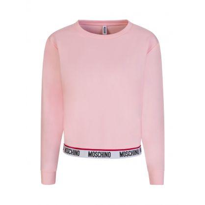 Pink Logo Tape Crewneck Sweatshirt