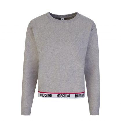Grey Logo Tape Cropped Sweatshirt
