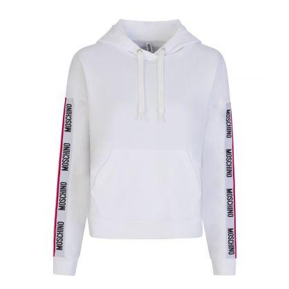White Underwear Logo Tape Popover Hoodie