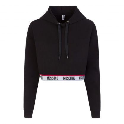 Black Underwear Collection Cropped Hoodie