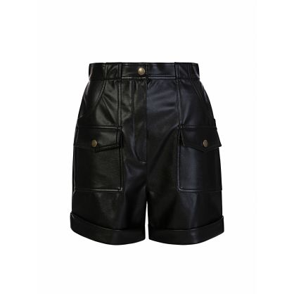 Di Lorenzo Serafini Black Faux Leather Shorts