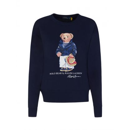 Navy Blue Fleece Polo Bear Sweatshirt