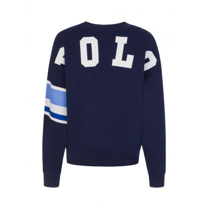 Navy Colour Block Sleeve Sweatshirt