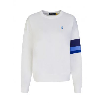 White Colour Block Sleeve Sweatshirt