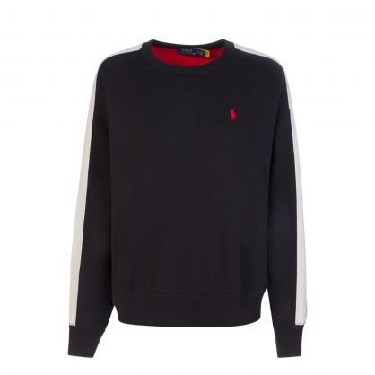 Black Relaxed-Fit Colour-Blocked Fleece Sweatshirt