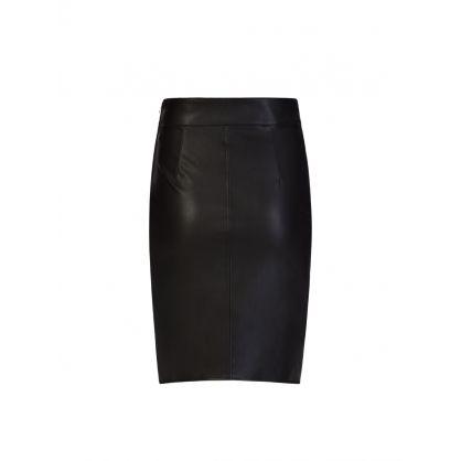 Black Faux Leather Wrap Pencil Skirt