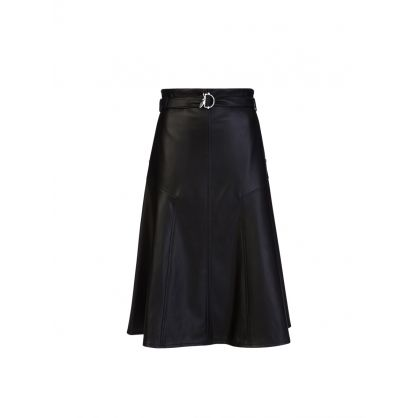 Black Faux Leather Flared Skirt