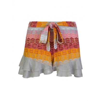 Silver/Red Striped Frill Shorts