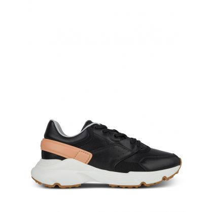 Black Leather and High Tech Fabric Trainers