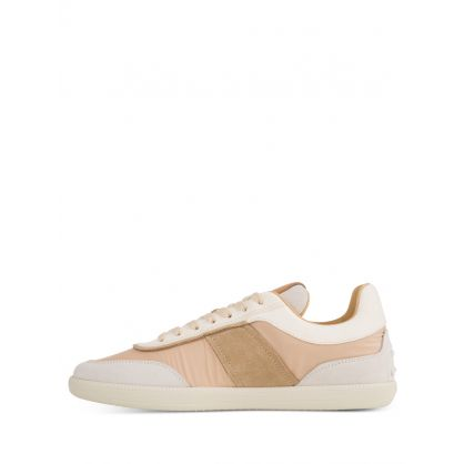 Beige Leather Tabs Trainers