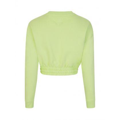 Green Cropped-Fit Badge Sweatshirt