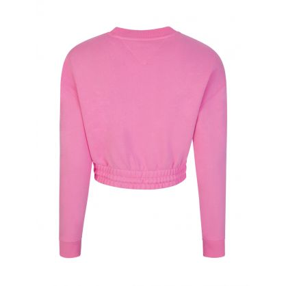 Pink Organic Cotton Cropped-Fit Badge Sweatshirt