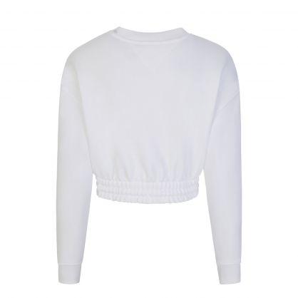 White Super Cropped Badge Sweatshirt