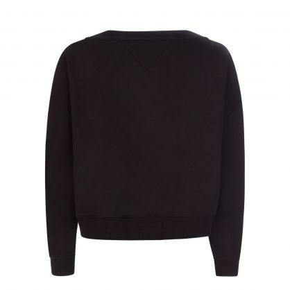 Black Relaxed-Fit V-Neck Sweatshirt