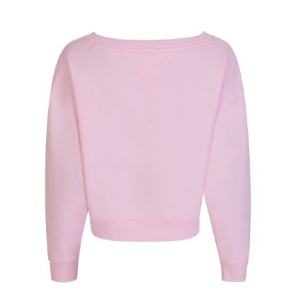 Pink Cropped Relaxed V Neck Sweatshirt