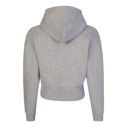 Grey Cropped-Fit Floral Embroidery Tommy Badge Hoodie