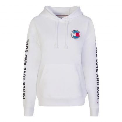 White Oversized Peace Logo Hoodie