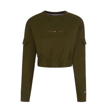 Green Cropped-Fit Utility Crewneck Sweatshirt