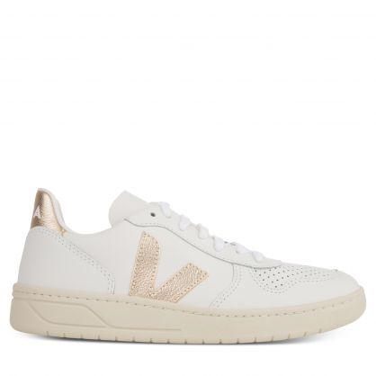 White/Platine V-10 Leather Trainers